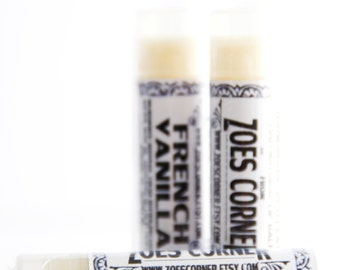 Lip Balm - French Vanilla - 100% Natural Lip Balm - Made with Local Beeswax and Sunflower oil