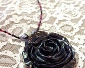 Handmade Black Rose Necklace with Pink and Black Beaded Chain