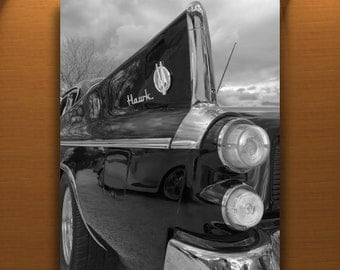 Studebaker Hawk Car, Art Photograph, Tail Fins, Black and White, Automobile Art, Automotive Print, Car Picture, Guy Thing, Vertical Print