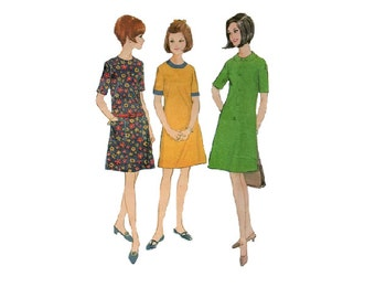Retro Mod Dress 60s Sewing Pattern McCall's A-line Drop Waist Dress Short Sleeves Mad Men Style Bust 29