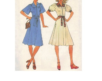Simplicity 7845 Sewing Pattern Retro 70s Boho Hippie Style Dress Peasant Shirtdress Loose Fit Short Sleeve Disco Fashion Bust 36