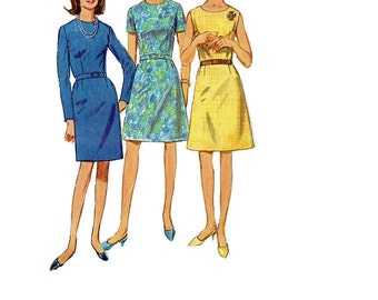 Simplicity 60s Mad Men Style Sewing Pattern Basic Sheath Dart Fitted Sleeveless Casual Day Dress Plus Size Full Figure Bust 42