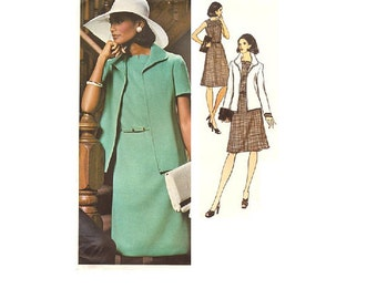 1970s Teal Traina A-line Dress Designer Vogue 1073 Americana Sewing Pattern Square Slit Neck Loose Fit Jacket Business Casual Uncut Bust 34