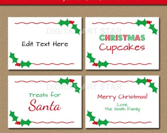 Christmas Labels, Tent Cards, Holiday Place Cards, Buffet Cards ...