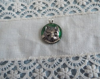 Czech Glass Button Kitty Cat Pendant