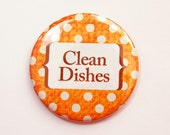 Clean Dishes Magnet, Orange, Dishwasher magnet, The dishes Are Clean, Clean Dishes, Polka Dots, kitchen magnet, Magnet (3689)