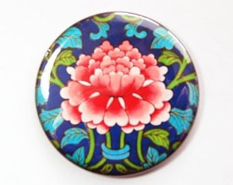 Pocket mirror, purse mirror, Flower Mirror, Asian pattern, Pink Flower, pink, blue, Floral, gift for her (3646)