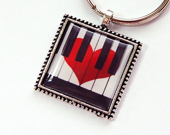 Piano Key Chain, Piano Key Ring, Key chain, Key ring, Keychain, keyring, stocking stuffer, under 10, Music Lover, Piano (4391)