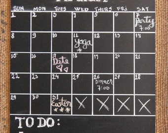 Chalk Board Calendar Chalkboard Planner Sign with White Ribbon Reusable Wall Calendar