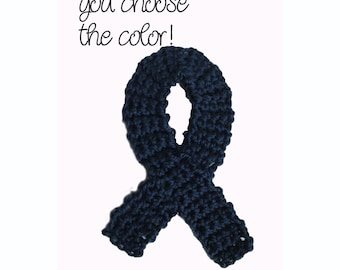 Applique Add-On - Awareness Ribbon - Dark Blue - Made To Order - Many Colors Available