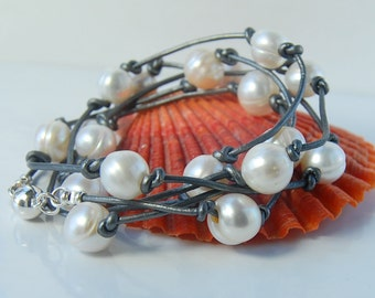Pearl Wrap Bracelet     Convertible to Pearl Necklace   Metallic Gray Leather