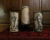 Luna A (set of 3): Parchment Collection Candleholders ~ Goddess, moon, moon magick, spells, spellwork, apothecary, ritual, altar, vintage