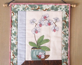 """Completed Counted Cross Stitch """"Orchid"""" Quilted Wallhanging, Floral Wall Decor, White Orchid, Quiltsy Handmde"""