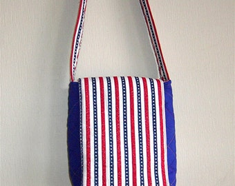 Small red, white and blue purse