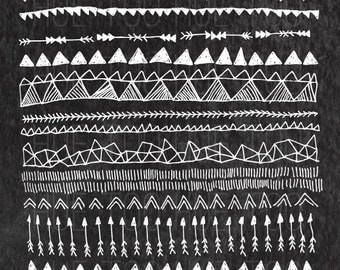 tribal borders clipart, instant download chalkboard tribal pattern border clip art, hand drawn arrow triangles, tribal graphics png