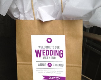 Printable Ultra Modern Wedding Welcome Bag Labels  -  LOVELY LITTLE PARTY