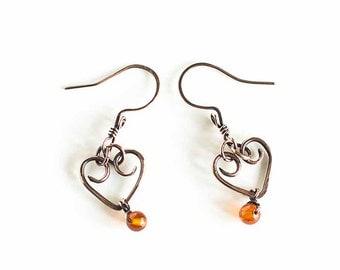 Copper Earrings Hearts ft. Amber Beads Heart Earrings Antiqued Copper Custom Copper Findings