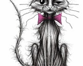 A very bad cat Print download Extremely naughty bad pet kitty puss with cheeky face wearing bow tie who's stolen a fish Funny animal picture