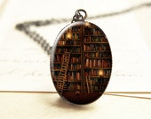 Book Necklace, Book Jewelry, Book Lover Gift, Book Shelf, Librarian Gift, Gifts For Librarians, Book Worm, Writer Gift, N136