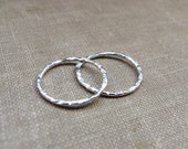 Unisex Sterling Silver Earrings. Hammered Small Hoop Earrings. Sterling Silver Hoops 15mm / Thin Silver Hoops / Flat Hoop Earrings for Men