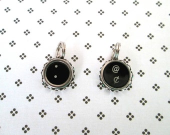 Typewriter Key Charm Pendant Vintage Black and White Punctuation Keys