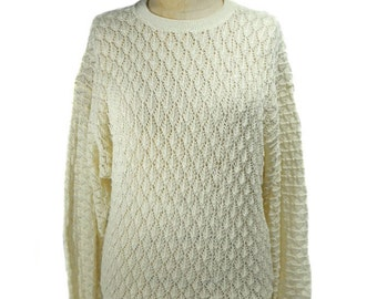 vintage 1970s eyelet sweater / It's Pure Gould / cream off-white / acrylic / 70s sweater / women's vintage sweater / size medium
