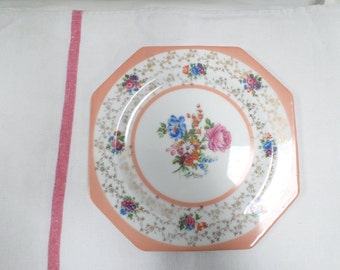Antique French Porcelain Handpainted Floral Limoges saucer plate signed Mazay w785