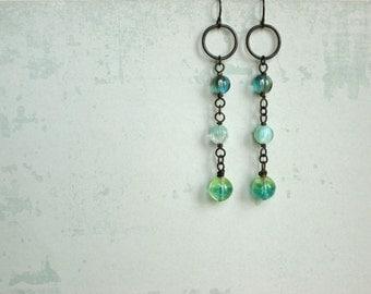 Drip Drop Earrings boho blue green by Nancelpancel on Etsy
