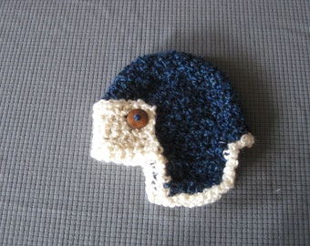 Crochet Baby Hat Aviator Baby Boy Baby Girl Photo Prop Infant Newborn Blue
