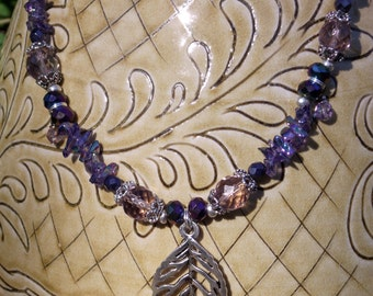 Blue Violet Necklace with Silver Leaf Pendant and Earrings