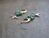 Bohemian Steer Earrings Steer Skull Earring Longhorn Earrings Native American Earrings Beaded Turquoise Jewelry Texas Southwest Longhorn
