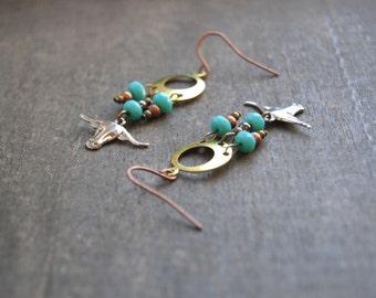 Bohemian Steer Earrings Steer Skull Earrings Longhorn Earrings Native American Earrings Turquoise Steer Skull Texas Southwest Longhorn