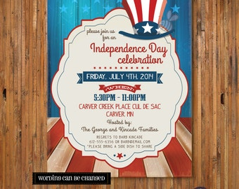 4th of July BBQ Party invitation -July 4th Invitation - Fourth of July Invitation - Item FJ0006