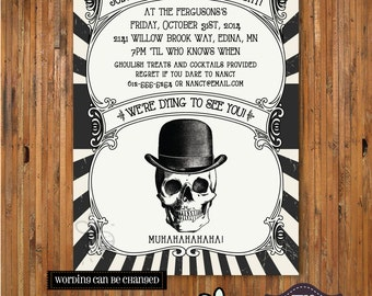 Halloween Party Invitation - Costume Party invitation - Adult Halloween Party Invitation - Frightful Night  - Item H0028