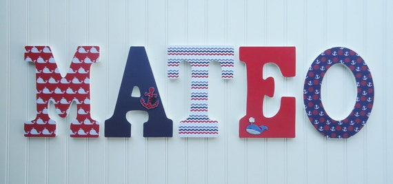 Wall Letters Nursery Wall Decor Wooden Letters Red White