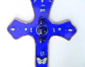 Decorative Blue Wall Glass Cross