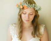 Peach Sweet Pea and Dusty Miller Head Piece 'Take Me With You' - Rustc Flower Crown
