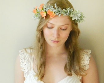 sale Peach Sweet Pea and Dusty Miller Head Piece 'Take Me With You' - Rustc Flower Crown