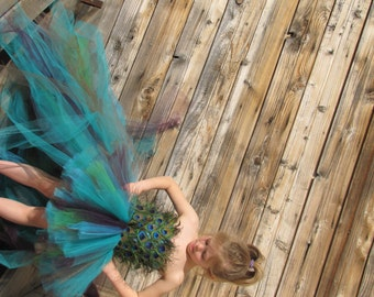 Peacock Costume, Feather dress, Flower girl feather Tutu Dress, Peacock dress, Peacock wedding