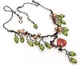 Green Orange Statement Necklace, Green Orange Bib Necklace, Statement Jewelry, Rustic Wedding Bridal Necklace, Nature Jewelry, Sponge Coral