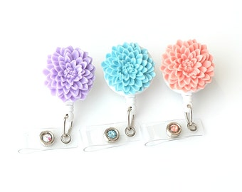 Dahlia Gift Set - Retractable Badge Reels - Flower Badge Holders - Designer ID Clips - Nurse Gifts - Pretty Name Badge Pulls - BadgeBlooms