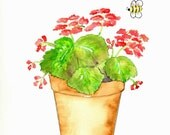 Geraniums Watercolor Print, Flowerpot and Bumblebee Painting, Flower Home Decor Wall Art, Terra Cotta Pot with Plant Summer Picture