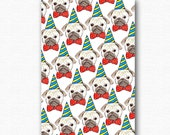 Party Pugs funny birthday card . pug illustrated greeting cards . boyfriend party invite 21st best friend girlfriend . puppy humour