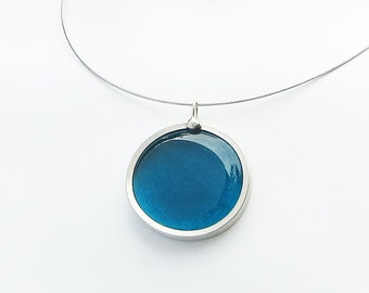 Teal Blue Pendant Necklace,  glass melted marble pendant, glass jewelry, necklace pendant 019