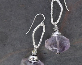 Chunky and Faceted Ametrine Stone Earrings