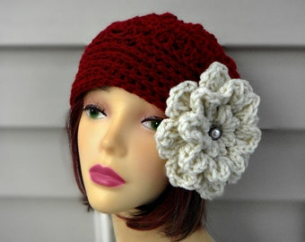 Crochet Womens Hat Burgundy Hat with Flower Womens Crochet Accessories Winter Hats