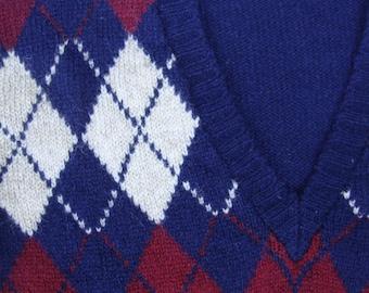 Vintage Shetland Argyle Vneck Sweater