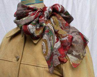 Romantic Paisley Silk Scarf, Anne Klein, vintage 1990s
