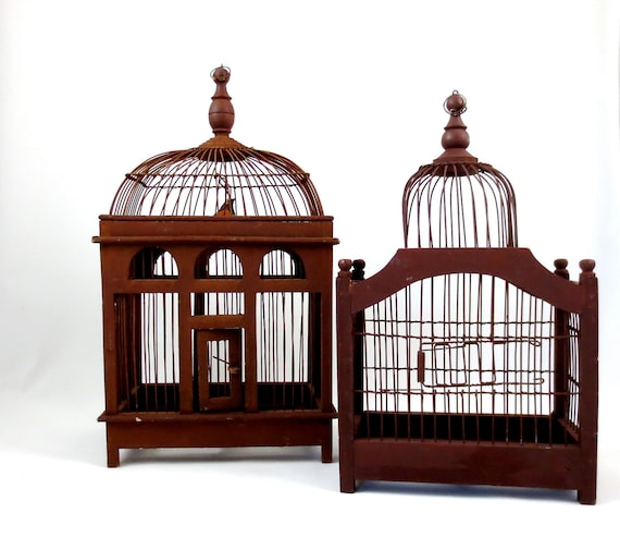 Domed Bird Cages / Wood And Metal Wire / Set Of Two / Antique
