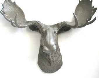 LITE BROWN Faux Taxidermy Moose Head Wall Hanging Wall Mount Home Decor: Max the Moose in light brown